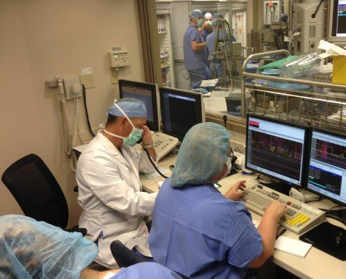 Dr. Rowe and the CoxHealth team in the Cath Lab / Operating Hybrid Room