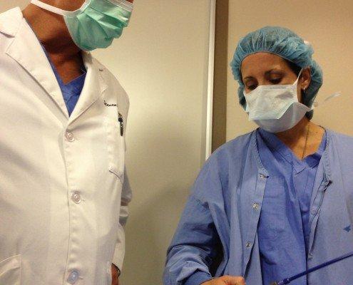 Dr. Rowe inspecting TAVR Sheath